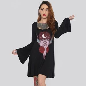 Gypsy Warrior Bell-sleeve graphic dress